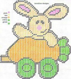 Easter Train Plastic Canvas Ornaments, Plastic Canvas Crafts, Plastic Canvas Stitches, Plastic Canvas Patterns, Bunny Crafts, Easter Crafts, Easter Ideas, Happy Easter Bunny, Canvas Designs