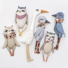 """Actually, I was not a big fond of birds before I've watched the movie """"Le peuple migrateur"""". It changed my vision forever Fabric Animals, Fabric Birds, Softies, Stitch Doll, Handmade Stuffed Animals, Softie Pattern, Fabric Toys, Creation Couture, Doll Maker"""