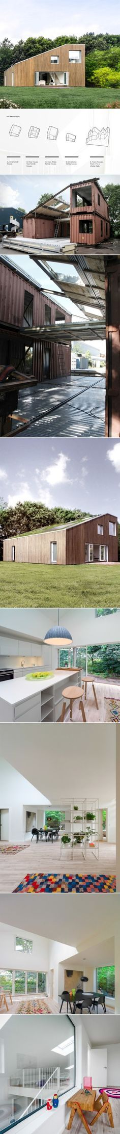 3x Shipping Container Home. This two-story recycled shipping container building only needs three equal modular containers to create the basic platform for a modern house: a steel structure unites the three split parts – two on the ground floor and the other above one of them – completing the rest of the surfaces with prefab steel panels.