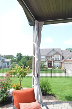 A Storm Strap Is Hung With The Curtains To Secure Entire 2 Panels Outdoor Sun ShadeDrop