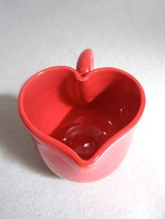 Red glossy love cup, heart shaped, porcelain