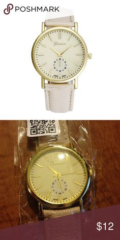 Geneva watch in cream Materials PU leather and alloy, solid stainless steel back cover, band width 18 mm band length 23 cm Geneva Accessories Watches