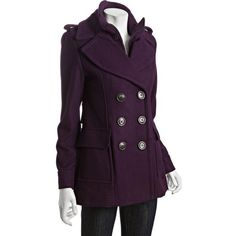 Miss Sixty Merlot Wool Blend Double Breasted Knit Collar Peacoat
