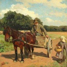 Et møde med bedstefader (An encounter with grandfather) by Erik Henningsen Vintage Artwork, Impressionist, New Art, Flower Art, Oil On Canvas, Horses, Farm Life, Terra, Farming