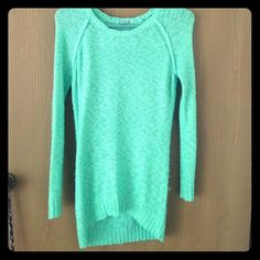 Long sweater Lightly worn, Blue-ish green sweater, from Charlotte Russe. Size xs. 100% acrylic. Charlotte Russe Sweaters