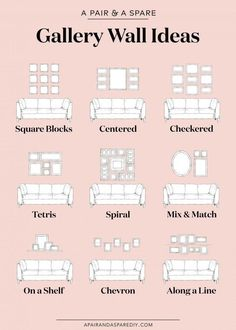 9 Ways to Layout Your Gallery Wall Living Room Decoration living room wall decor ideas