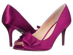Nina Fraser Asymmetric Bow Peep Toe Pump satin wine, black, navy 3h sz7.5 89.00 2/16