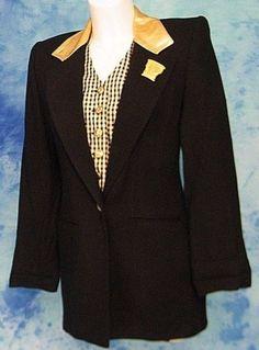 ArTsY-80s-VtG-GOLD-LEATHER-METALLiC-PLAiD-VEST-DRESS-JACKET-BOYFRiEND-BLAZER-S