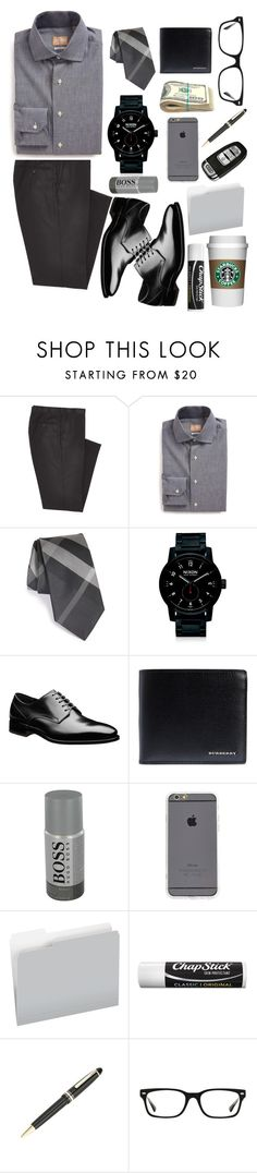 """""""Business meeting"""" by kendradavis2013 ❤ liked on Polyvore featuring Combatant Gentlemen, Gitman Bros., Burberry, Nixon, HUGO, Pendaflex, Chapstick, Montblanc, Ray-Ban and men's fashion"""