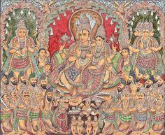 Mysore Painting, Tanjore Painting, Lord Vishnu, Indian Art, Deities, Shiva, Cosmos, Vintage World Maps, Paintings