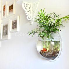 Creative Acrylic Wall Mounted Fish Bowl Tank Aquarium Wall Hanging Home Deco