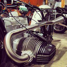 bmw scrambler custom high exhaust headers and mufflers