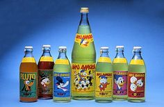 Small bottles of colorful lemonades