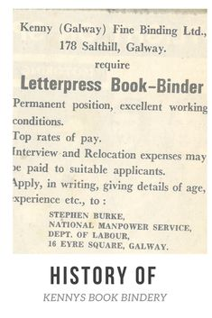 10 things you didn't know about Kennys Bindery Galway. Book Binder, In Writing, Bookbinding, Letterpress, Over The Years, How To Apply, Typography, Letterpress Printing, Letterpresses