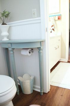 Find a small side table to cover unsightly toilet paper holders and also provide more countertop space. Bathroom Storage Ideas for Small Spaces; solutions for your everyday family. Bathroom Hacks and Tricks you wish you knew yesterday.