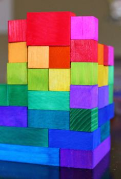 "DIY Dyed Rainbow ""Grimm"" Style Wooden Blocks from Fun at Home with Kids"