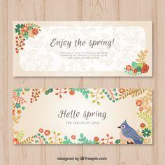 banners consideravelmente florais para a primavera Vetor grátis