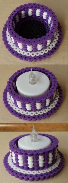 3D Perler tea light holder.