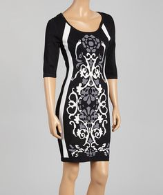 Another great find on #zulily! Black & Ivory Abstract Sweater Dress by Sangria #zulilyfinds