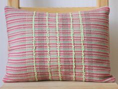 Handwoven rectangular cushion. Handmade in London, UK.