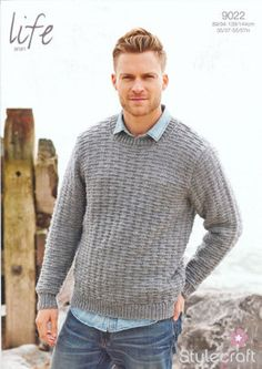 Mens' Round Neck Sweater knitting pattern in Stylecraft Life Aran. A great project for Dad! Get the pattern at LoveKnitting.