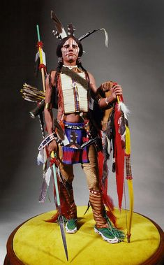 Full length color image of Comanche Warrior, by George Stuart.