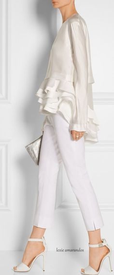 Haider Ackermann - white of course White Fashion, Look Fashion, Fashion Details, Womens Fashion, Fashion Design, Fashion Trends, Gothic Fashion, Mode Chic, Mode Style