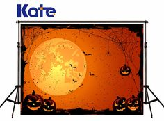 KATE Photo Background Halloween Backdrop Pumpkin and Bat Photography Background Treat or Trick Halloween Party Children Backdrop #Affiliate