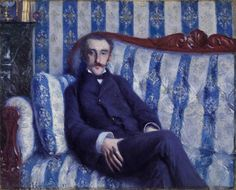 Portrait of a Man - Gustave Caillebotte, 1877 - private collection (a framed version of this paiting can be seen below in another painting) Pierre Auguste Renoir, Edouard Manet, Edgar Degas, Beaux Arts Paris, Art Commerce, Camille Pissarro, Art Database, Art Moderne, Impressionism Art
