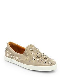 Jimmy Choo Demi Star-Studded Leather Laceless Sneakers 725