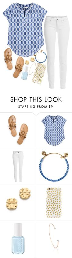 """Blue + White"" by jordanawarren ❤ liked on Polyvore featuring Tory Burch, Velvet, Paige Denim, Alex and Ani, BaubleBar, Essie and Astrid & Miyu"