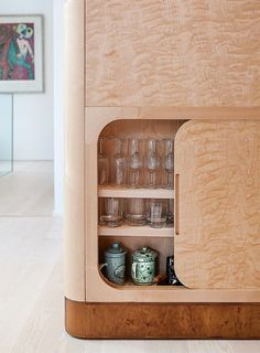 Like the hidden storage aspect to this. Interior Design Addict: Salminen chose flame birch for the cabinetry for its remarkable wavy wood grain. Architecture Restaurant, Interior Architecture, Furniture Inspiration, Interior Design Inspiration, Kitchen Inspiration, Sliding Cabinet Doors, Sliding Door, Birch Cabinets, Joinery Details