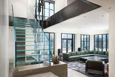 Seamless glass stringers and minimalistic design - just Siller Stairs Glass Stairs, Chicago Apartment, Minimalist Design, Furniture, Home Decor, Minimal Design, Decoration Home, Room Decor, Home Furnishings