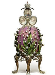 Lilies of the Valley Egg, 1898. Presented by Nicholas II to Czarina Alexandra Fyodorovna. Gold, green-gold, enamel, diamonds, rubies, pearls, rock crystal, watercolor on ivory. Kept in Svyaz' Vremyon Fund - Viktor Vekselberg collection - Moscow.