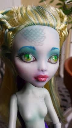 Repainted OOAK Monster High Doll Custom - Lagoona Blue, Nude, Fantasy, Gothic, Horror, Art Doll, For Collectors