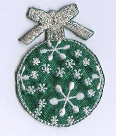 Iron On Embroidered Applique Patch Christmas Ball Ornament Green