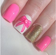 Cute pink bow and glitter mani