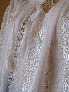 Hand embroidered Romanian blouse - white - ivory rhomb - size M/L Embroidery Patterns, Cross Stitch Patterns, Ethnic, Ivory, Hands, Costumes, Wedding Dresses, Traditional, Clothes