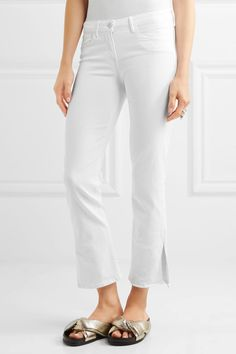 3x1 - W2 Split Bell Crop Mid-rise Straight-leg Jeans - White - 27