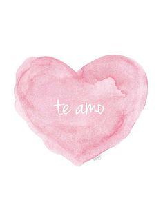te amo, Spanish Nursery Art, 11x14 Pink Watercolor Print, Love Quote, Baby Girl Nursery, Spanish Quote, Spanish Language Art, Baby Girl Gift