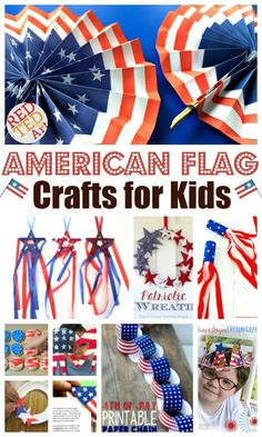 American Flag Crafts for Kids. Make these wonderful Patriotic Crafts for Kids this summer! Great crafts for preschoolers and kindergarten kids! #4thJulyCrafts  #MemorialDayCrafts