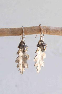 LEAF EARRINGS Silver ACORN