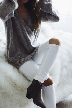 res denim white ripped jeans, isabarl marant boots, free people sweater