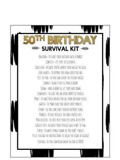 Birthday Survival Kit Birthday Survival Kit Digital Print This is a digital product and wi 50th Birthday Gag Gifts, 50th Birthday Party Decorations, 50th Party, Birthday Games, Birthday Crafts, 50th Birthday Ideas For Women, Birthday Greetings, Birthday Wishes, Cakes For 50th Birthday
