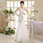 A-line Wedding Dress Knee-length Off-the-shoulder Tulle with Beading / Button / Draped / Lace 2017 - $109.99
