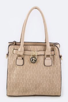 Dooney Inspired-Padlock Embossed Logo Shoulder Bag - Sassy Posh - 2