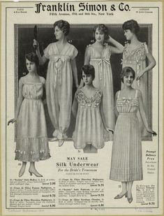 May Sale : Silk Underwear For The Bride's Trousseau Sizes 34 To 44 Bust. 1917.