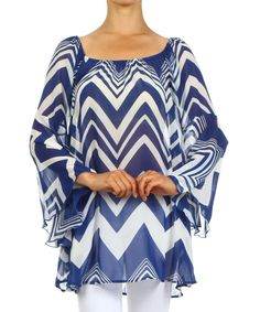 Look at this Blue Zigzag Bell-Sleeve Top on #zulily today!