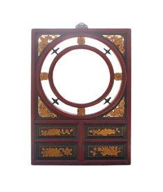 Chinese-Red-Gold-Bats-Flowers-Wall-Mirror-cs412  650-522-9888 goldenlotusinc@yahoo.com  #red #thanksgiving #blackfriday #furnishing #oriental #Zen