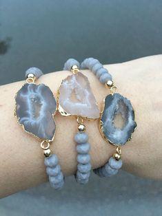 Druzy Geode Bracelets boho jewelry Druzy Bracelets agate sliced